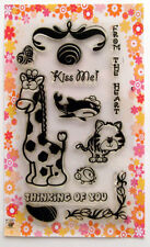 Cute animals ~ Giraffe and shark ~ clear stamps set vintage FLONZ 127 rubber acr