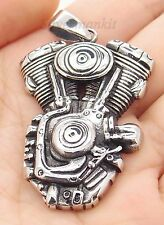Men's 316L Motorcycle Engine Stainless Steel Biker Pendant Free Chain Necklace