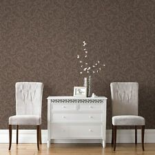 Boutique Cashmere Chocolate and Copper Metallic Wallpaper