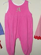 """Funtasia Too 24m Monogram """"A"""" Longall Bubble Romper Pink Corduroy Boutique Green"""