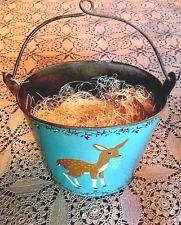 "Primitive Rustic 7"" Tin Bucket-Deer & Mistletoe~Vintage Style Christmas"
