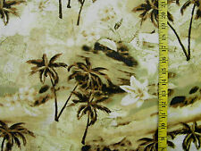 TROPICAL TAN  PALM TREES PRINT  100% COTTON FABRIC BY THE 1/2 YARD