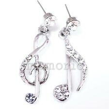 white gold plate dangle clear music clef note symbol sign studs CRYSTAL earrings