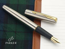 Parker Frontier Stainless Steel GT Fountain Ink Pen SS Gold Trim New Nib Chrome