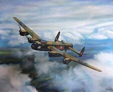 "DAVID ALDUS ORIGINAL ""Avro Lancaster"" ww2 RAF bomber aircraft OIL PAINTING"