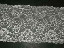 """white trimming  lycra lace trim embroidered stretch material 6"""" wide X BTY"""