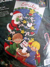 Christmas Bucilla STOCKING FELT Applique Holiday Kit,COOKIES FOR SANTA,83391,18""