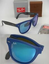 Authentic Ray-Ban RB 4105 602017 54mm Folding Wayfarer Matte Blue / Blue Mirror