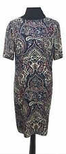 JAEGER Dress Size 8 Tunic Black Beige Red Aztec Vintage Designer Summer Holiday