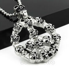 Mens Stainless Steel Biker Skull Peace Pendant Gothic Punk Necklace PJ1025