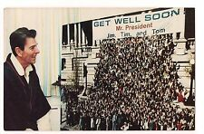 GET WELL CARD President RONALD REAGAN POSTCARD 1981 After Being Shot