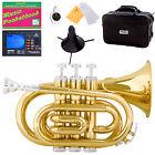 Mendini Gold Lacquer Mini / Pocket Trumpet +Tuner+Stand+Case