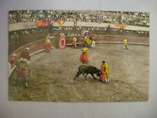 VINTAGE POSTCARD OF TORERO IN ACTION AT BULL RING TIJUANA MEXICO UNUSED