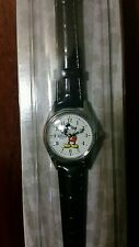 Disney Parks Exclusive Classic Mickey Mouse Silver Frame Ladies Black Watch New