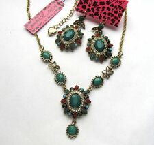 Betsey Johnson crystal  colour Simulation gem mosaic Necklace Earring set#202T