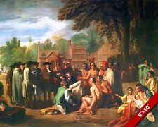 TREATY OF WILLIAM PENN & NATIVE AMERICAN INDIANS PAINTING ART REAL CANVAS PRINT