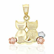 Gold Sitting Cats Charm, 14k Solid Gold, Best Friend Jewelry