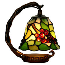"Bieye Tiffany Stained Glass Grape Table Lamp LED Night Light Handmade 6""W 8""H"