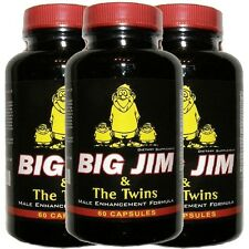 PENIS ENLARGEMENT PILLS - BIG JIM & THE TWINS -BEST MALE ENHANCEMENT - 3 BOTTLES