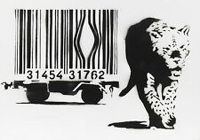 Framed Print - Banksy Street Art Leopard Free of the Barcode Cage (Graffiti)