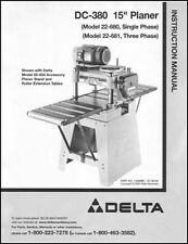 Delta DC-380 15 Inch Planer Manual Instructions & Parts