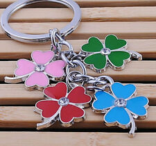 FD1142 Colorful Flower Flora Metal Cystal Keychain Keyring Car Key Ring Gift^