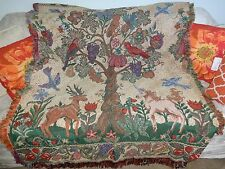 Medieval Tapestry Throw Blanket Wall Hanging L Art Repro Unicorn Tree of Life!