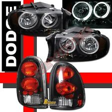 98-03 Dodge Durango SLT R/T Dual CCFL Halo LED Headlights & Tail Lights Black