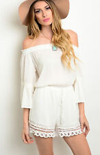 NWT Flying Tomato Size Small White Gauze Off the Shoulder Crochet Romper Shorts