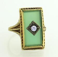 Antique Estate Art Deco 14K Gold Green Jade & Genuine Diamond Ring 3.6g $965