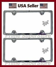 2 CHROME PLATED LICENSE PLATE FRAME PLAIN SOLID PLASTIC COVER SET CAR/TRUCK CAPS