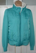 turquoise knit ribbed jacket hood hoodie fur zip Next UK 12 FAST UK POST