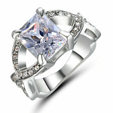 Size 6 Princess Cut White Sapphire Gem Engagement Ring White Gold Rhodium Plated