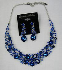 Royal Blue Rhinestone Crystal Statement Necklace Set Prom Pageant Dance # 7200