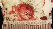 Toss Throw Pillow Waverly Vintage Cabbage Roses Lace Buttons Cottage Chic NEW