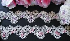 Good quality= 2 colors= purple/pink Venise flower lace trim - price for 1 yard