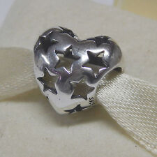 Authentic Pandora 791393 Starry Heart Charm Sterling Silver Box Included