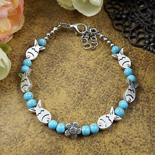 New HOT Free shipping  Tibet silver multicolor jade turquoise bead bracelet S63