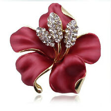 Red with White Rhinestones Diamante Elegant Corsage Flower Brooch Pin BR165