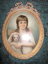VINTAGE child girl dog portrait hand painted oil painting oval bow frame