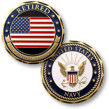 U.S. Navy / Retired / Flag - USN Brass Challenge Coin