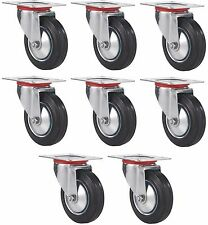 "8 Pack 3"" Swivel Caster Wheel Rubber Base with Top Plate & Bearing Heavy Duty"