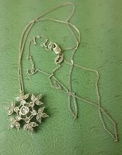 """Zales STERLING SILVER DIAMOND Snowflake PENDANT with NECKLACE 20"""""""