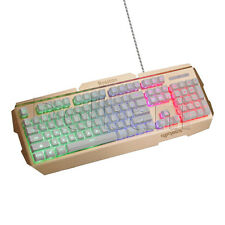 R300 USB Backlit Keyboard Wired White Gold BLN MultiColor Adjustable Backlight