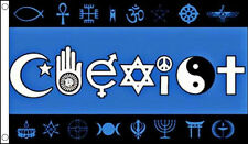 COEXIST FLAG 5' x 3' Co Exist Together Multi Religious World Peace Festival