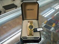 Seiko Gold Tone Watch Stainless Steel Woman's Watch Water Resistant # V701 New