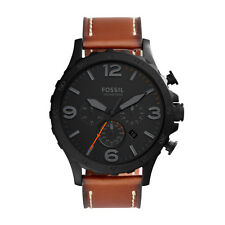 Fossil  JR1524 Nate Analog Display Chronograph Quartz Leather Strap Watch