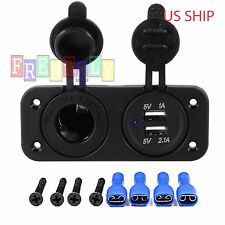 P2 Dual USB Port Car Cigarette Lighter Socket & 12V Charger Power Adapter Outlet