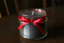 Round solid colour jar candle, silver grey paraffin wax red ribbon