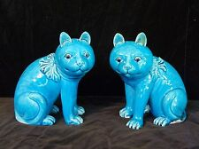 Pair Chinese Export Porcelain Turquoise Seated Cats- 6.8 in. Tall Antique, c1890